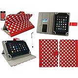 Emartbuy® Wind Tab 8 4G 8 Pollice Tablet Universale Serie Pois Rosso/Bianco Angolo Multi Esecutivo Wallet Portafoglio Custodia Case Cover con Scomparti per Carte di Credito + Bianco Stilo