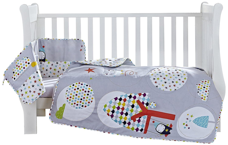 Clair de Lune Grey/Brights The Dudes Cot/Cot Bed Quilt and Bumper Bedding Set CL5638