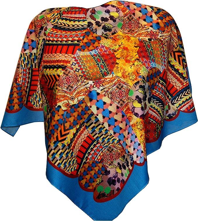 mit Seidenfransen Original Damen Russischer Pawlow Posad Schal Tuch Umschlagtuch 100/% Wolle mit Paisley und Blumen sehr hohe Qualit/ät 89cm x 89cm hochwertige Stola
