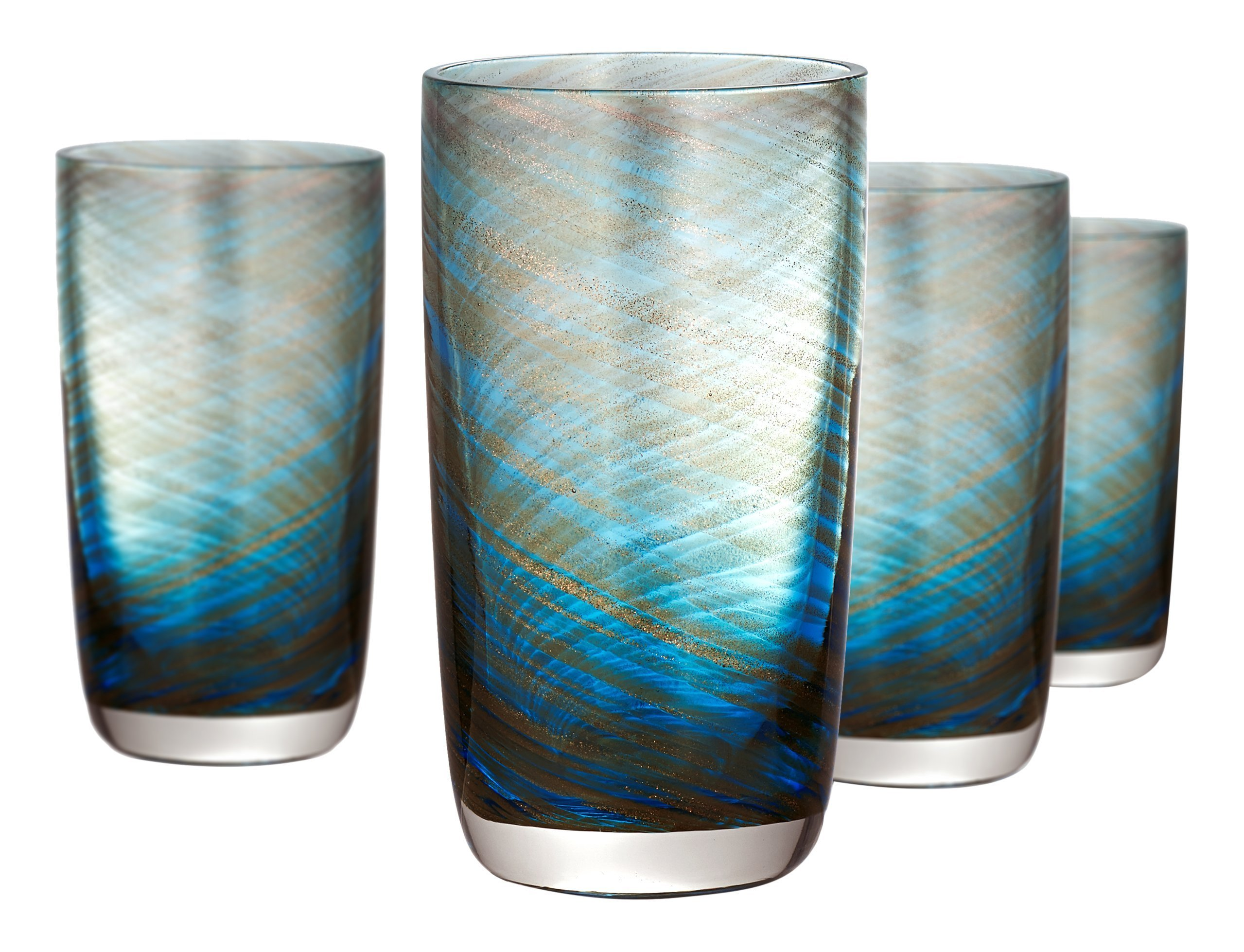 Artland Misty Highball Glass, Set of 4, 15 oz, Aqua