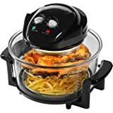 Tower Health T14001 Oil Free Halogen Air Fryer, 1300 Watt, 17 Litre, Black