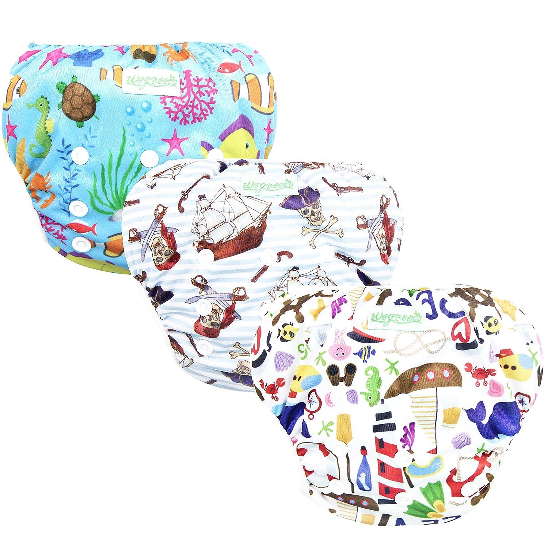 9d80c143cd Amazon.com : Wegreeco Baby & Toddler Snap One Size Reusable Baby Swim Diaper  (Sealife, Small, 3 Pack) : Baby