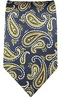 Paul Malone skinny necktie (6cm width) blue gold paisley men´s tie (regular & extra long length)