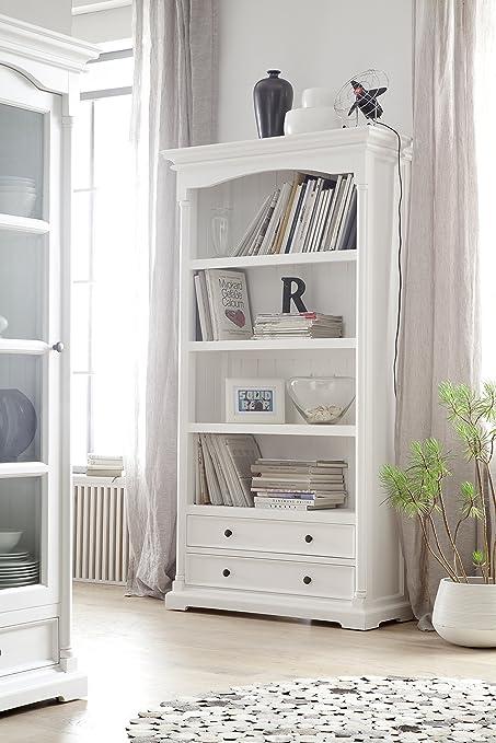 Amazon.com: NovaSolo Provence Pure White Mahogany Wood Bookcase With 4  Shelves And 2 Drawers: Kitchen U0026 Dining