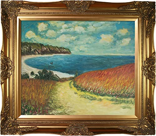 overstockArt Meadow Road to Pourville, 1882 with Victorian Gold Framed Oil Painting, 32 x 28 , Multi-Color
