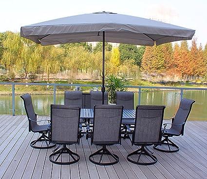 Pebble Lane Living 9pc Cast Aluminum Patio Dining Furniture Set   Seats 8