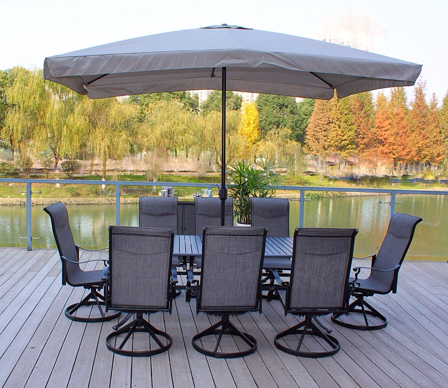 "Pebble Lane Living 9pc Cast Aluminum Patio Dining Furniture Set - Seats 8 - 8 Cast Alumiunum Swivel Rocking Dining Chairs : 41"" H x 30"" D x 27"" W 1 Aluminum Slat Top Dining Table : 82"" x 42"" x 29"" Rectangle Grey Patio Umbrella : 6.5' x 10' is sold separtely - patio-furniture, dining-sets-patio-funiture, patio - 91WwZI0fAbL -"