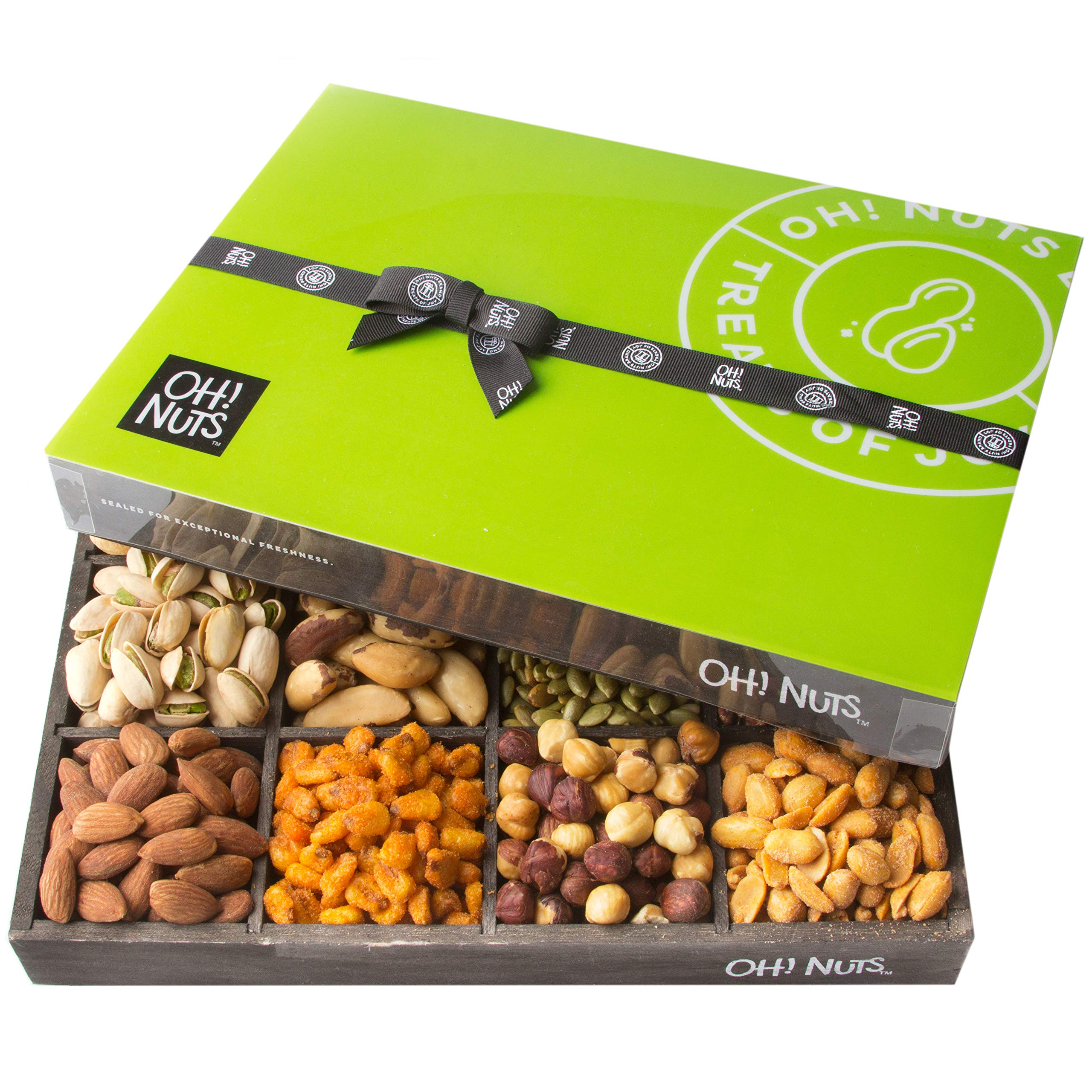 Oh! Nuts 12 Variety Mixed Nut Gift Basket, Holiday Freshly Roasted Healthy Gourmet Snack Gifts| Premium Wood Tray | Prime Christmas Food Baskets for Men & Women, Fathers & Mother's Day Unique Idea by Oh! Nuts (Image #3)