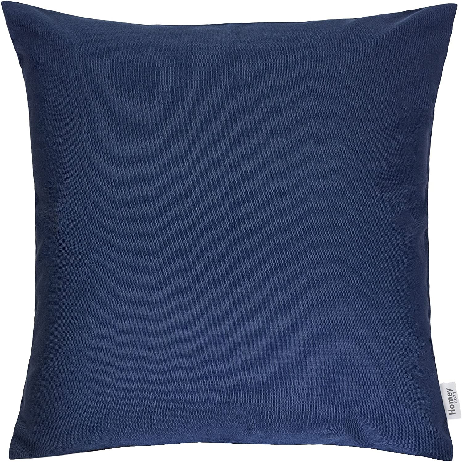 Homey COZY Outdoor Throw Pillow Cover, Classic Solid Navy Blue Large Pillow Sham Water UV Fade Stain-Resistance for Patio Lawn Couch Sofa Lounge 20×20, Cover Only