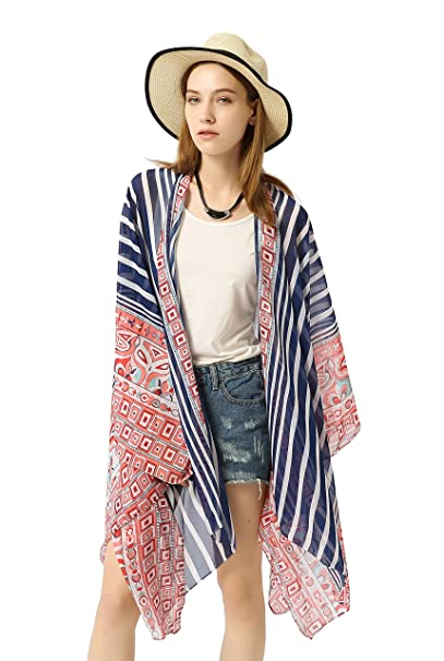 b0c6c177d11ce EDINSY Striature Clothing Women Kimono Bikini Cardigan Loose Beach Cover Up  Blouse Tops Outwear