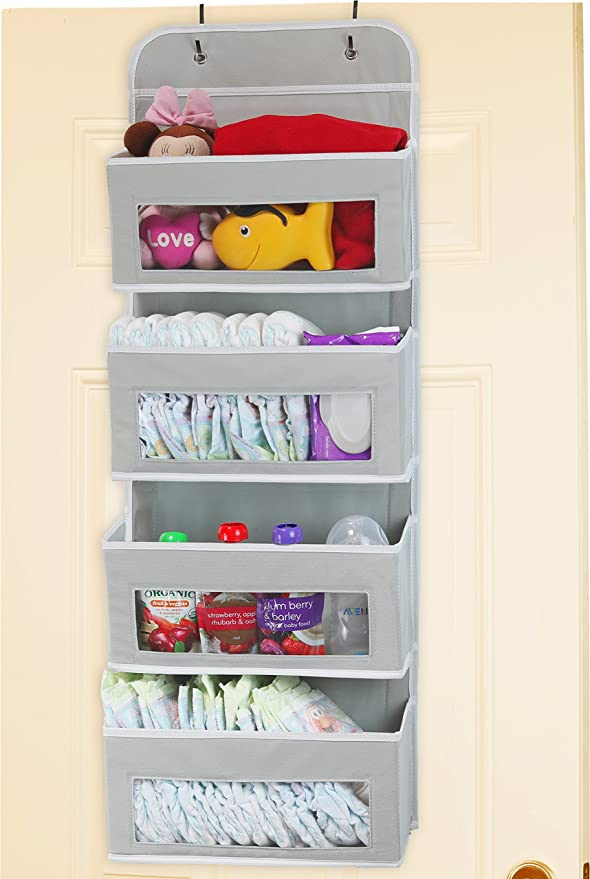 Amazon.com: Simplehouseware Over Door/Wall Mount 4 Clear Window Pocket Organizer, Gray: Home & Kitchen