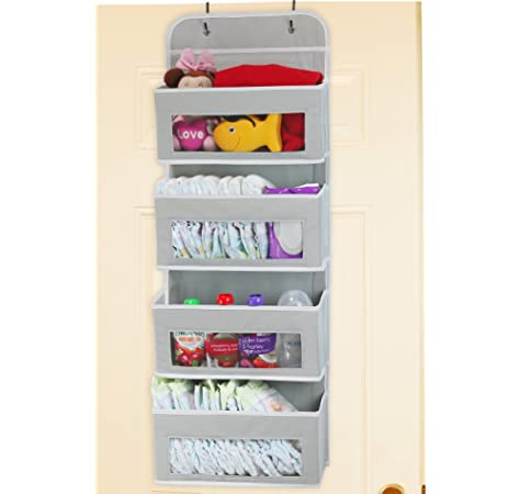 FIOBEE Over Door Storage Wall Hanging Organizer with Clear Window Pockets Hanging Shelves Wall Mounted Organizer with Metal Hooks for Baby Nursery Closet Bathroom Pantry