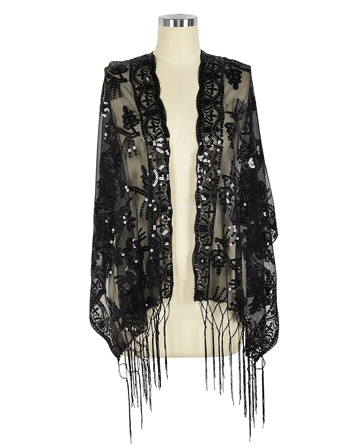 1abe708f641 Each side with fancy fringe 1920s style flapper shawl cover up. Great for  Evening Party