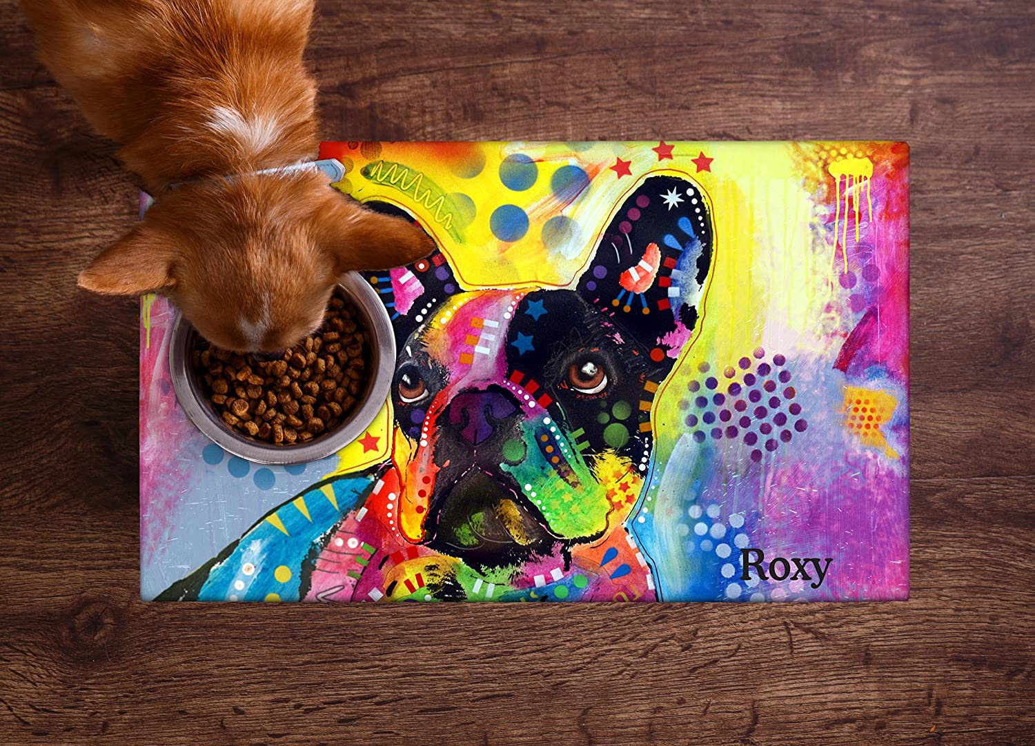 Drymate Personalized Pet Placemat, Dean Russo Designs, Custom Dog Food Mat, Cat Food Mat, Zorb-Tech Anti Flow Technology for Surface Protection (USA Made) (Small - 12