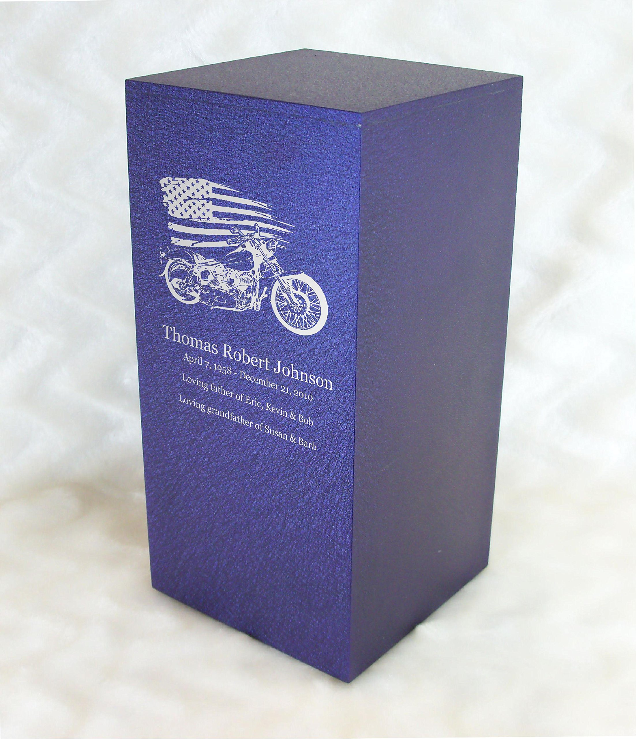 PERSONALIZED Engraved Motorcycle Cremation Urn for Human Ashes - Made in America - Handcrafted in the USA by Amaranthine Urns, Adult Funeral Urn - Eaton DL-up to 200 lbs living weight -(Purple Velvet)