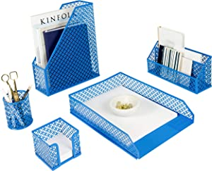 Blu Monaco 5 Piece Blue Desk Organizer Set - Desk Sets- Office Set- Blue Desk Accessories - Desktop Organization