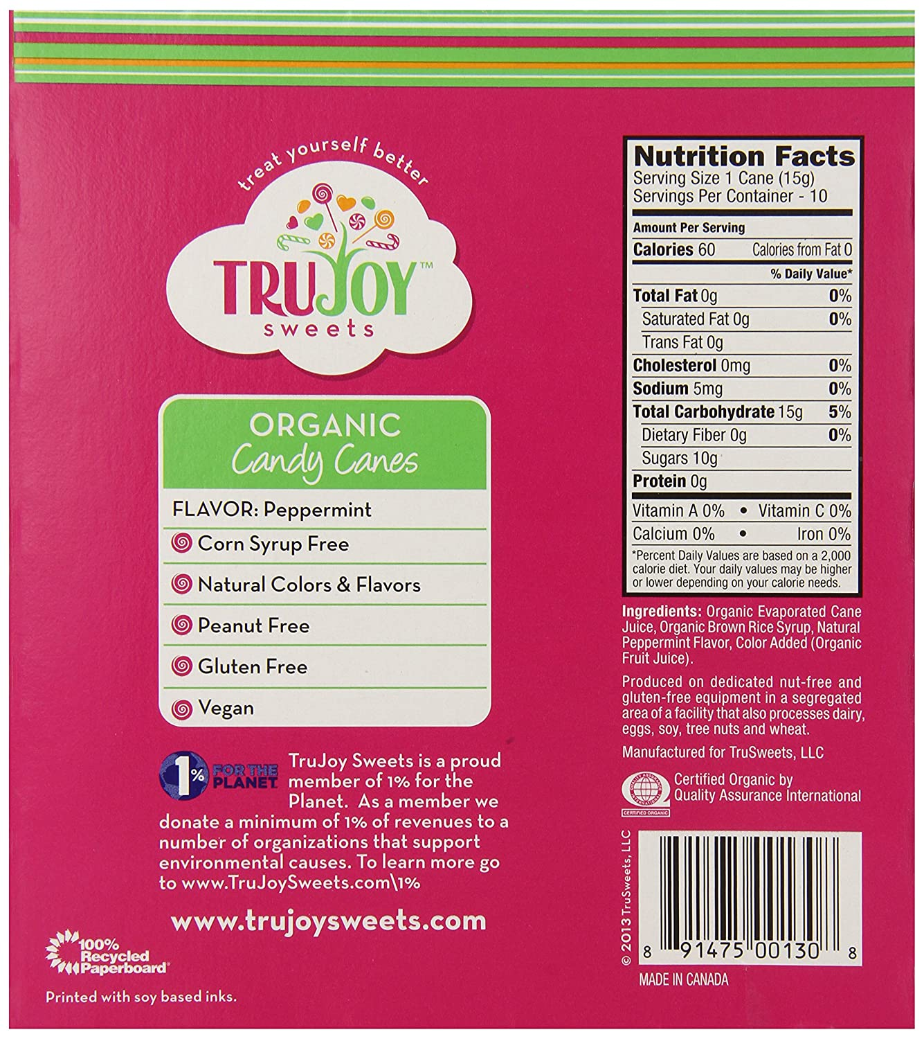 Amazon.com : Tru Sweets Organic Candy Canes, 10-Count Canes (Pack of ...