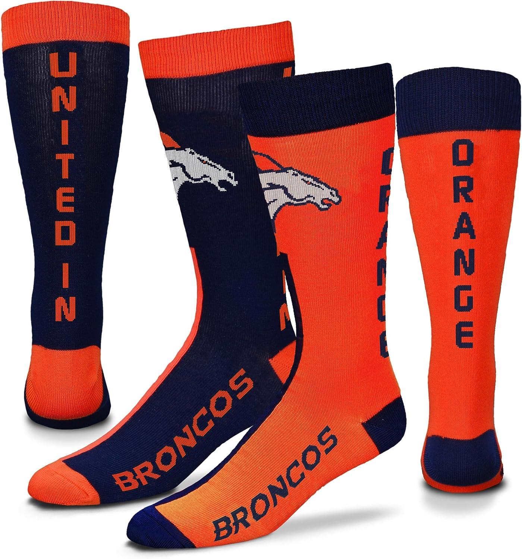 For Bare Feet Denver Broncos Big Top Mismatch Crew Socks Size Medium 5-10