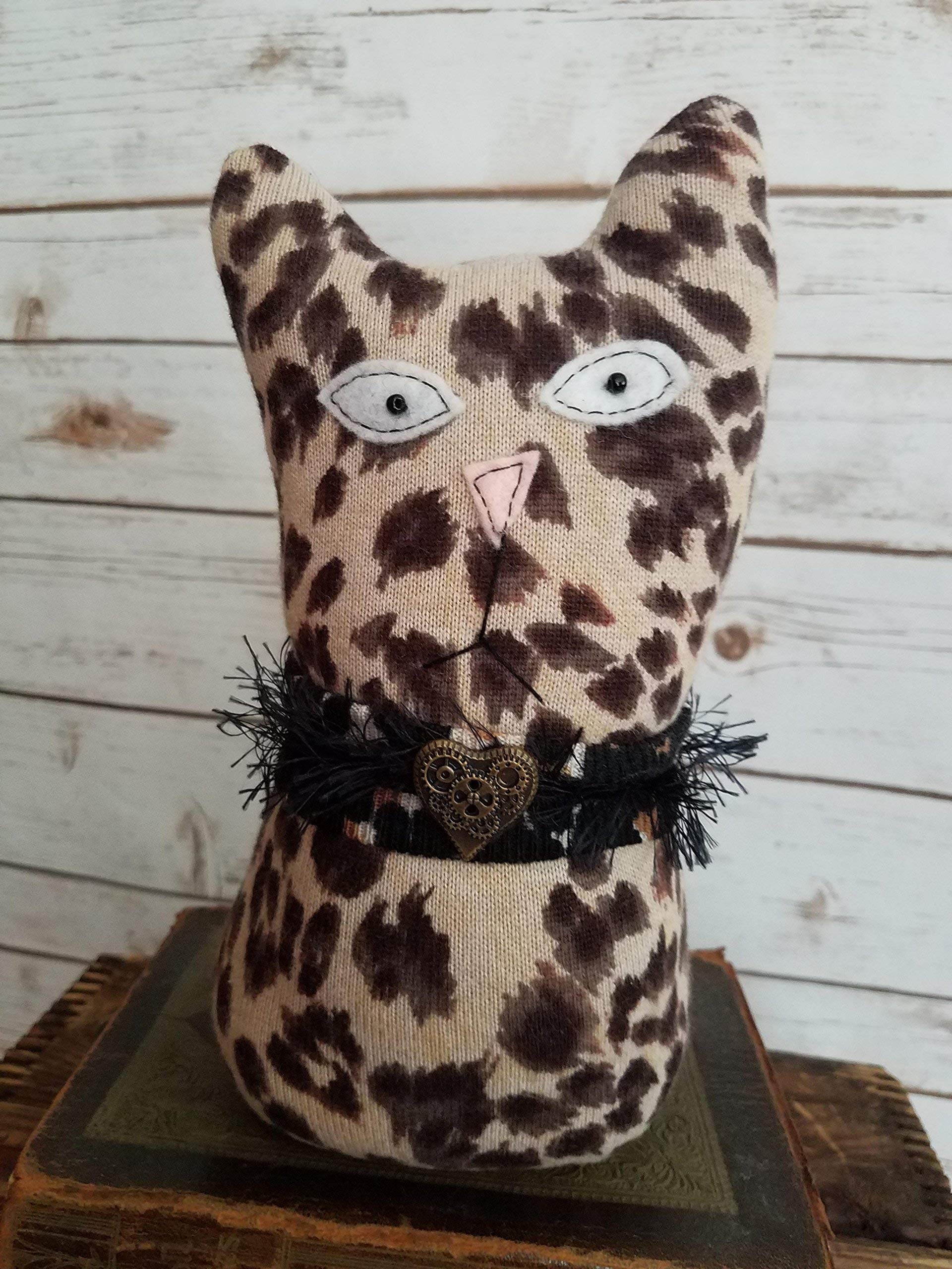 9'' Tall Ragamuffin Ugly Sweater Handmade Kitty Cat Art Doll Retro Glam Steampunk Leopard Stuffed Animal Cat Lovers Gift