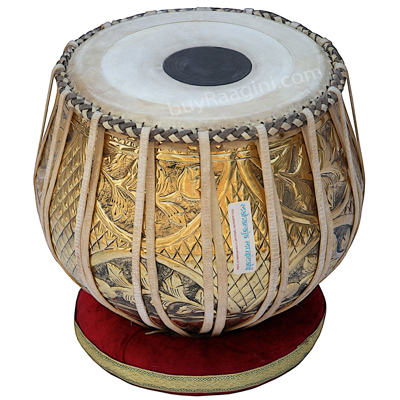 Tabla Set, Maharaja Musicals, 3.5 Kg Designer Golden Brass Bayan, Sheesham Tabla Dayan, Professional Drums, Padded Bag, Book, Hammer, Cushions, Cover, Tabla Drums Indian (PDI-FG) by Maharaja Musicals (Image #3)