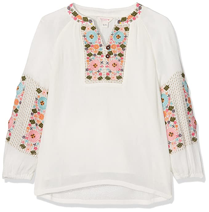 Fat Face LS Embroidered Smock Top, Blusa para Niñas, Beige (Ecru Nat)
