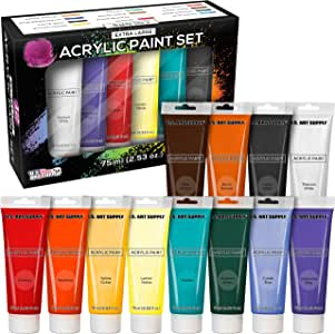 U.S. Art Supply 75ml Acrylic 12 - Color Paint Extra Large Tube Artist Painting Set