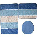 badgarnitur orion 3 teilig badmatte bad set blau stand wc k che haushalt. Black Bedroom Furniture Sets. Home Design Ideas