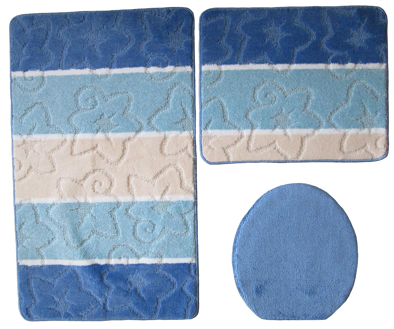 Orion bagno 3 pezzi Set 50 x 80 cm blu WC tappeto senza taglio testate OEKO-TEX Standard 100 Ilkadim