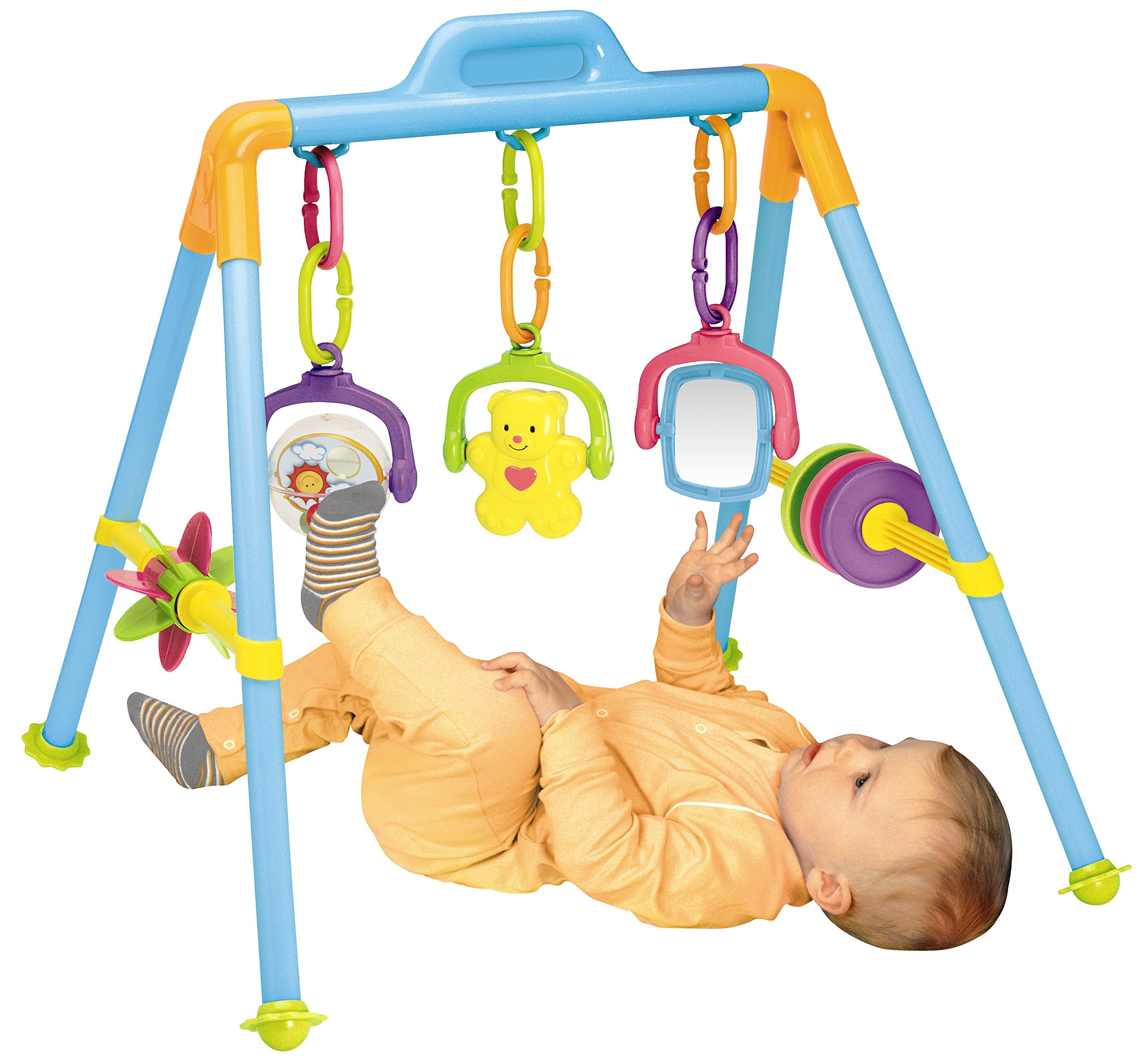 Little Bambino Fitness Frame Baby Fitness Frame Activity Gym Music Hanging Bell Early Educational Intelligence Game Toy Set Baby Kick and Gym Play Pushchair Hanging Toys Gift for Newborns Toddlers