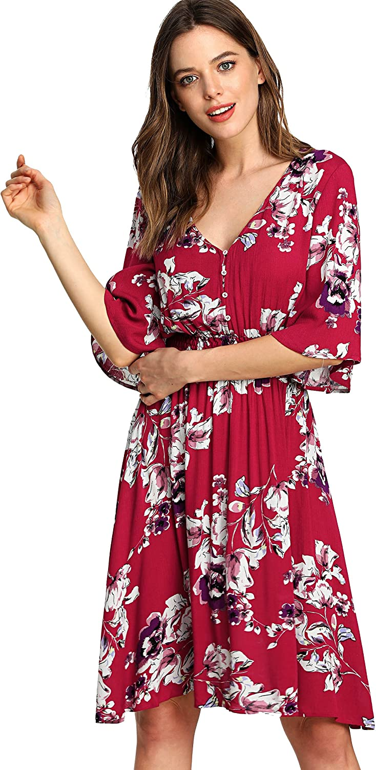 Milumia Women's Boho Button Up High Waist Floral Print Flowy Party Dress