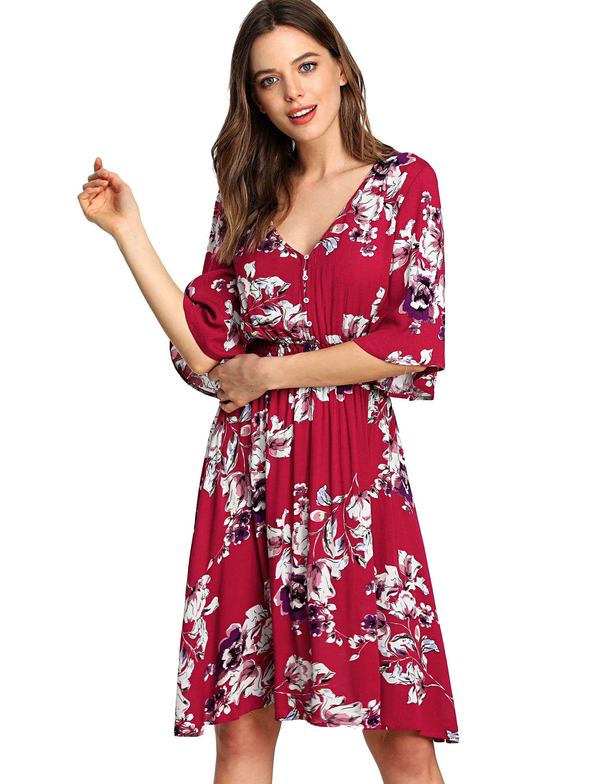 Milumia Women's Boho Button up Split Floral Print Flowy Party Dress X-Small Multicolor-Red