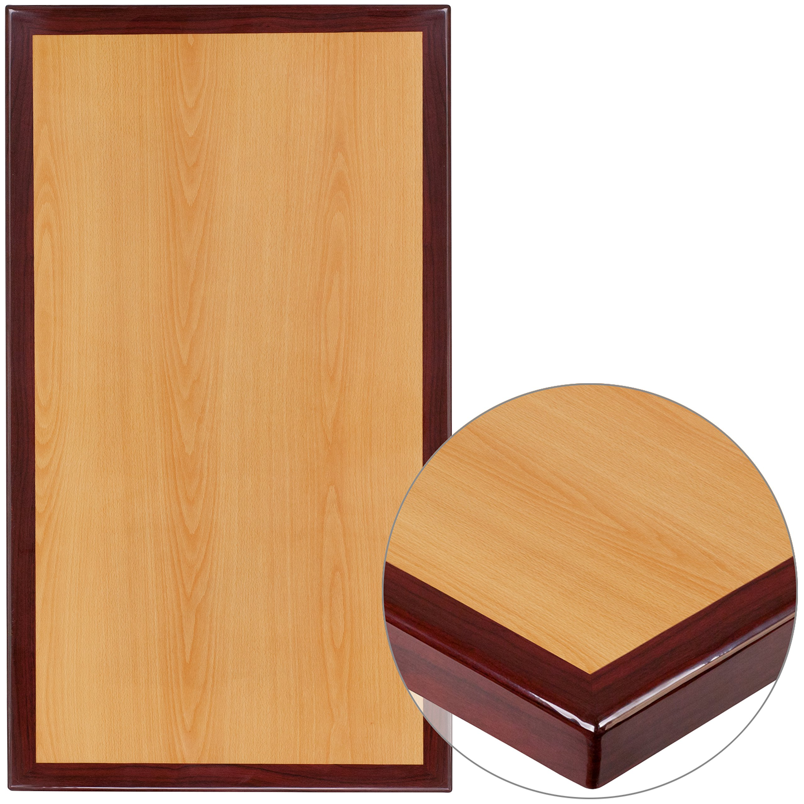 Flash Furniture 24'' x 30'' 2-Tone High-Gloss Cherry / Mahogany Resin Table Top with 2'' Thick Drop-Lip