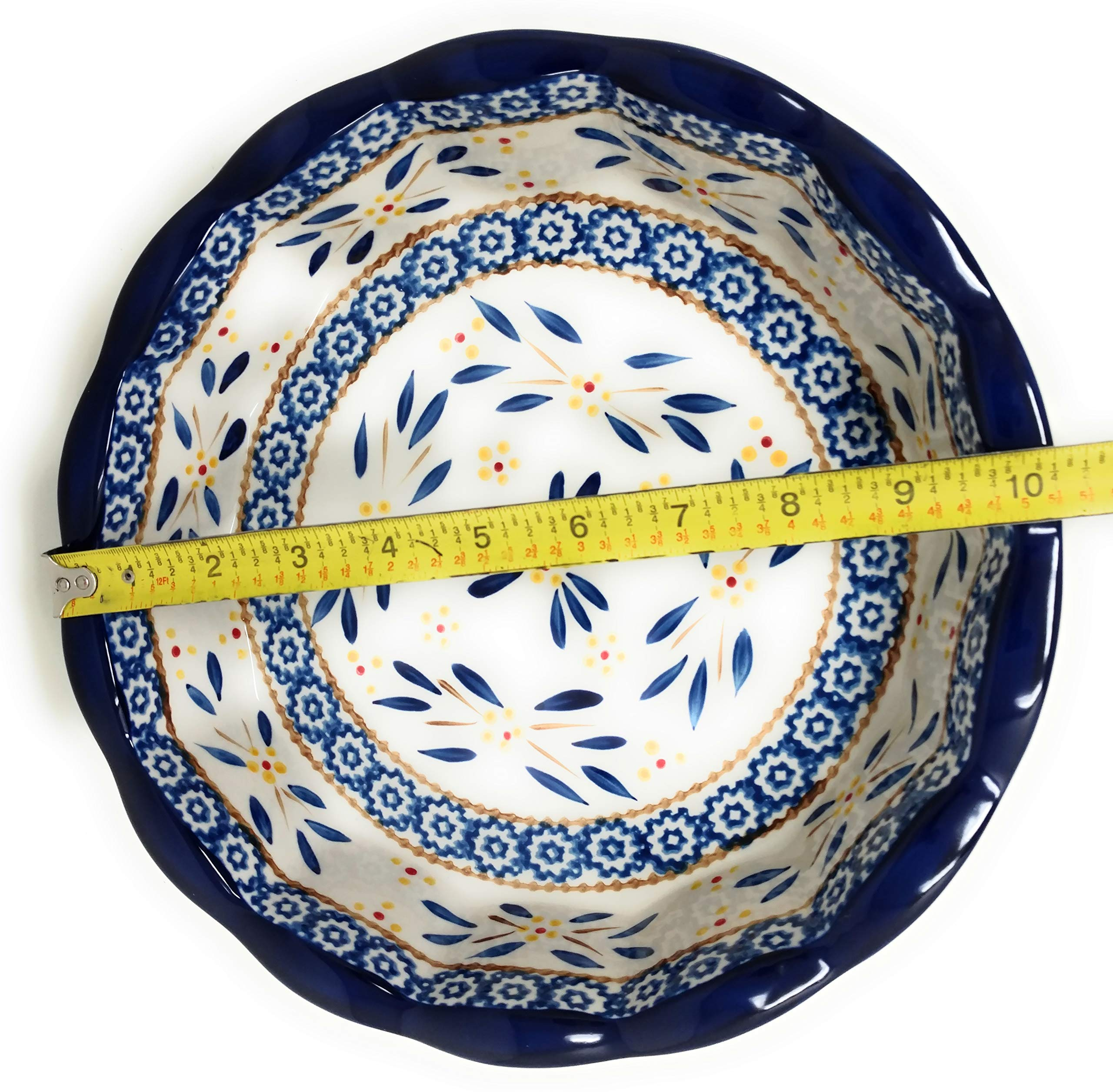 Temp-tations 10'' x 2.25'' Pie Pan w/Cover, Scalloped, Deep Dish Pizza or Quiche (Old World Blue) by Stoneware (Image #6)