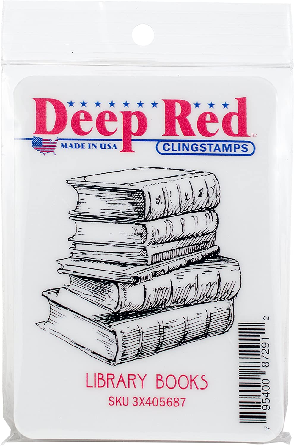 Deep Red Stamps 3X405687 Library Books Cling Stamp Multicolor
