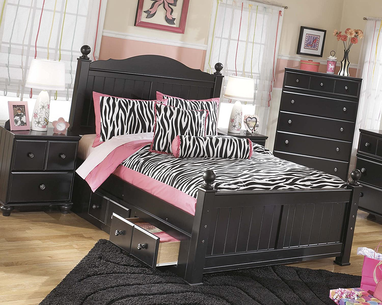 Amazon.com: Jaidyn Youth Wood Poster Bed Room Set in Rich Black ...