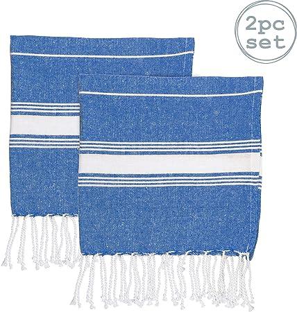 Toalla de Mano para baño y Cocina - Microfibra de 100 % algodón Turco - Azul Marino - Pack de 2: Amazon.es: Hogar