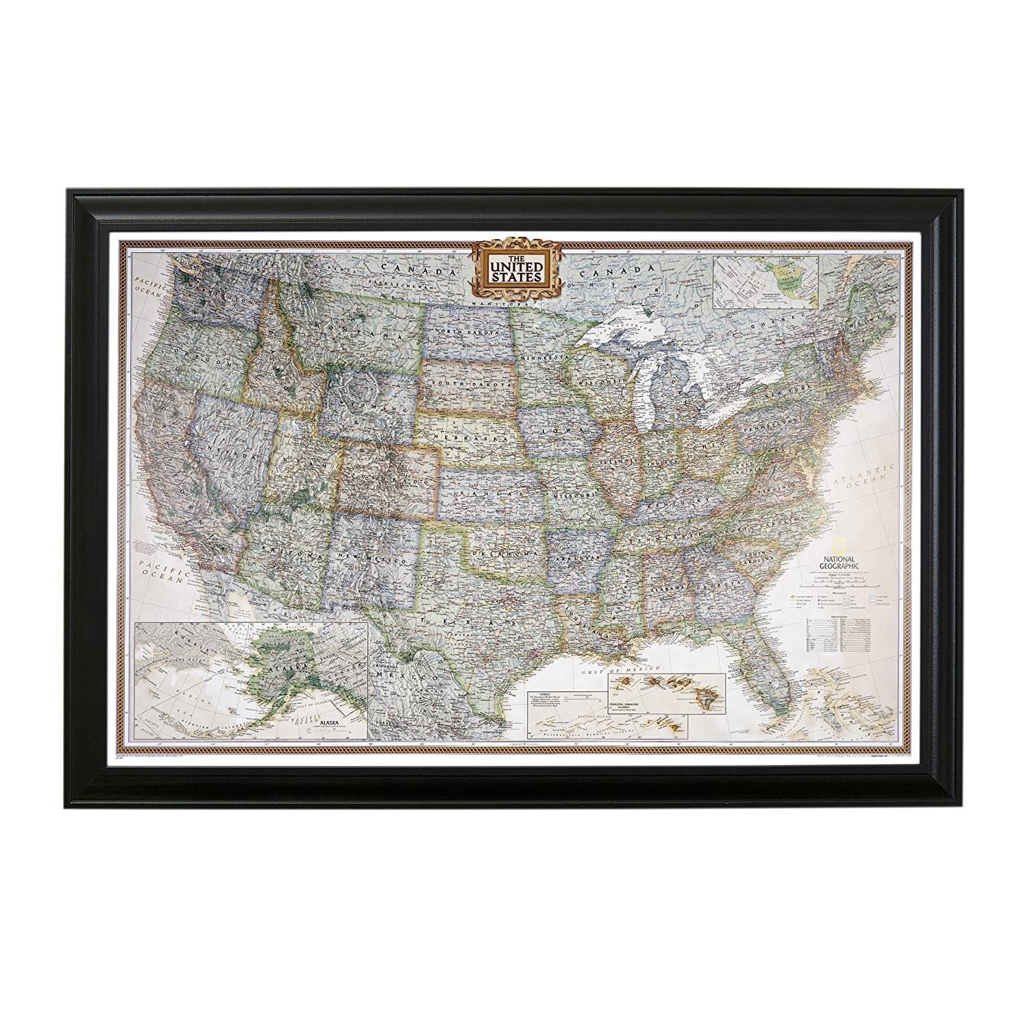 Amazoncom Executive US Push Pin Travel Map With Black Frame And - Us travel map push pin