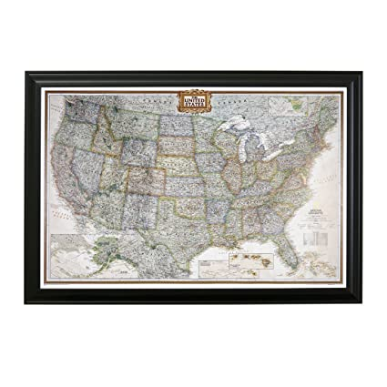 Amazon.com: Executive US Push Pin Travel Map with Black Frame and ...