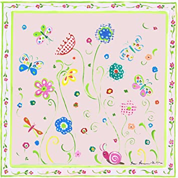 The Kids Room by Stupell Green Floral with Butterflies and Pink Border Square Wall Plaque BRP-1320