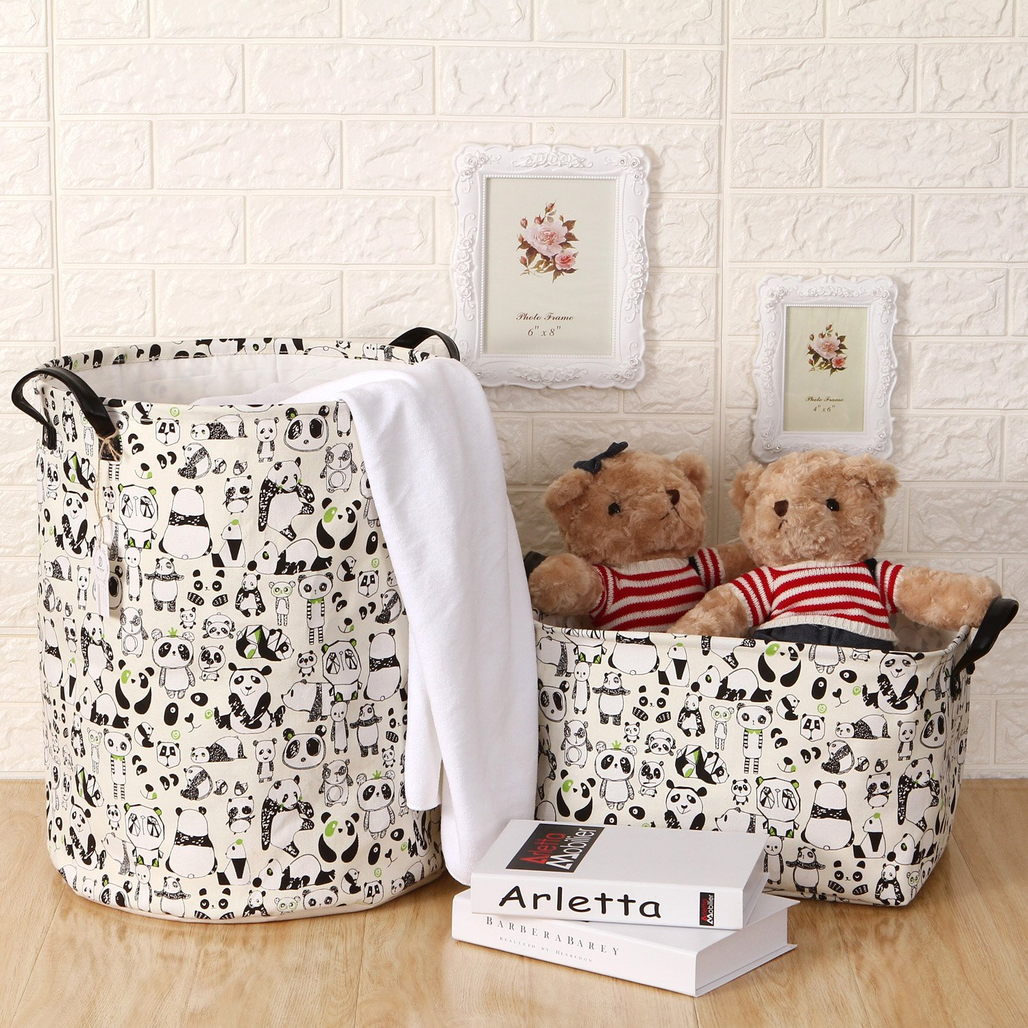 Sea Team 19.7'' Large Size Stylish Panda Design Canvas & Linen Fabric Laundry Hamper Storage Basket with Premium PU Leather Handles for Kid's Room, Drawstring Cover with Waterproof Coating by Sea Team (Image #7)