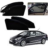 Autopearl - Premium Quality Zipper Magnetic Sun Shades Car Curtain For - Hyundai Verna Fluidic - Set Of 4 Pcs