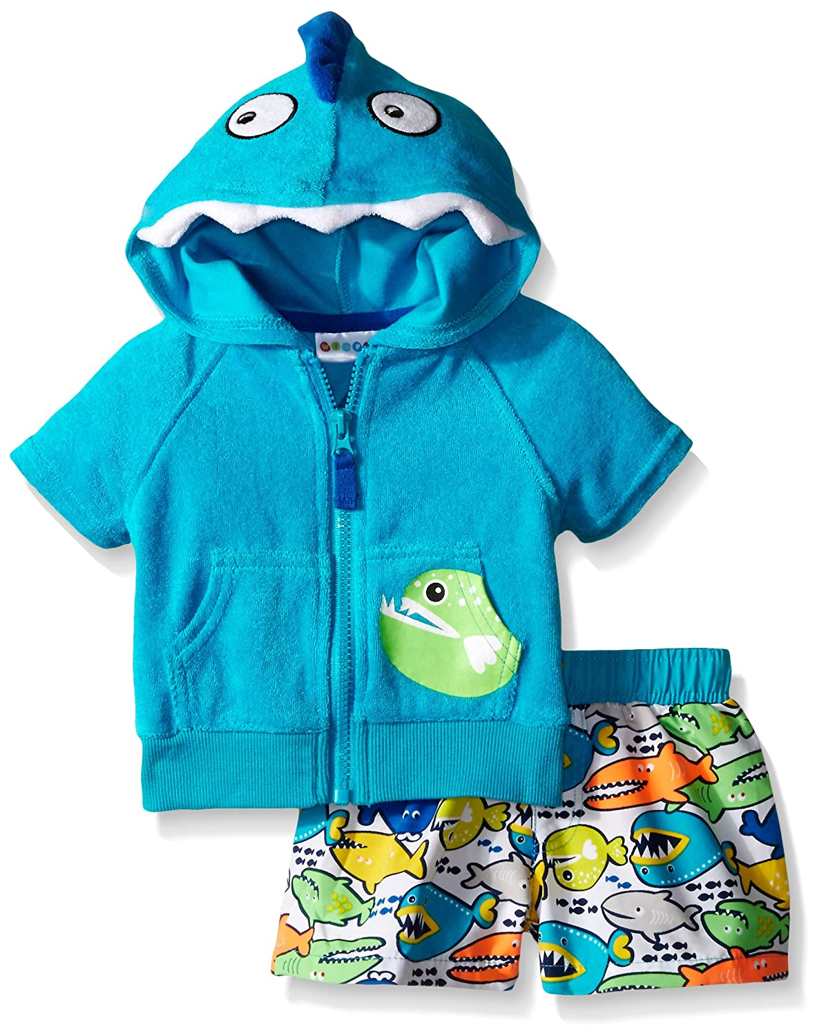 Wippette Baby Boys' Angry Fish Cover Up Set Blue 24 Months WB669007