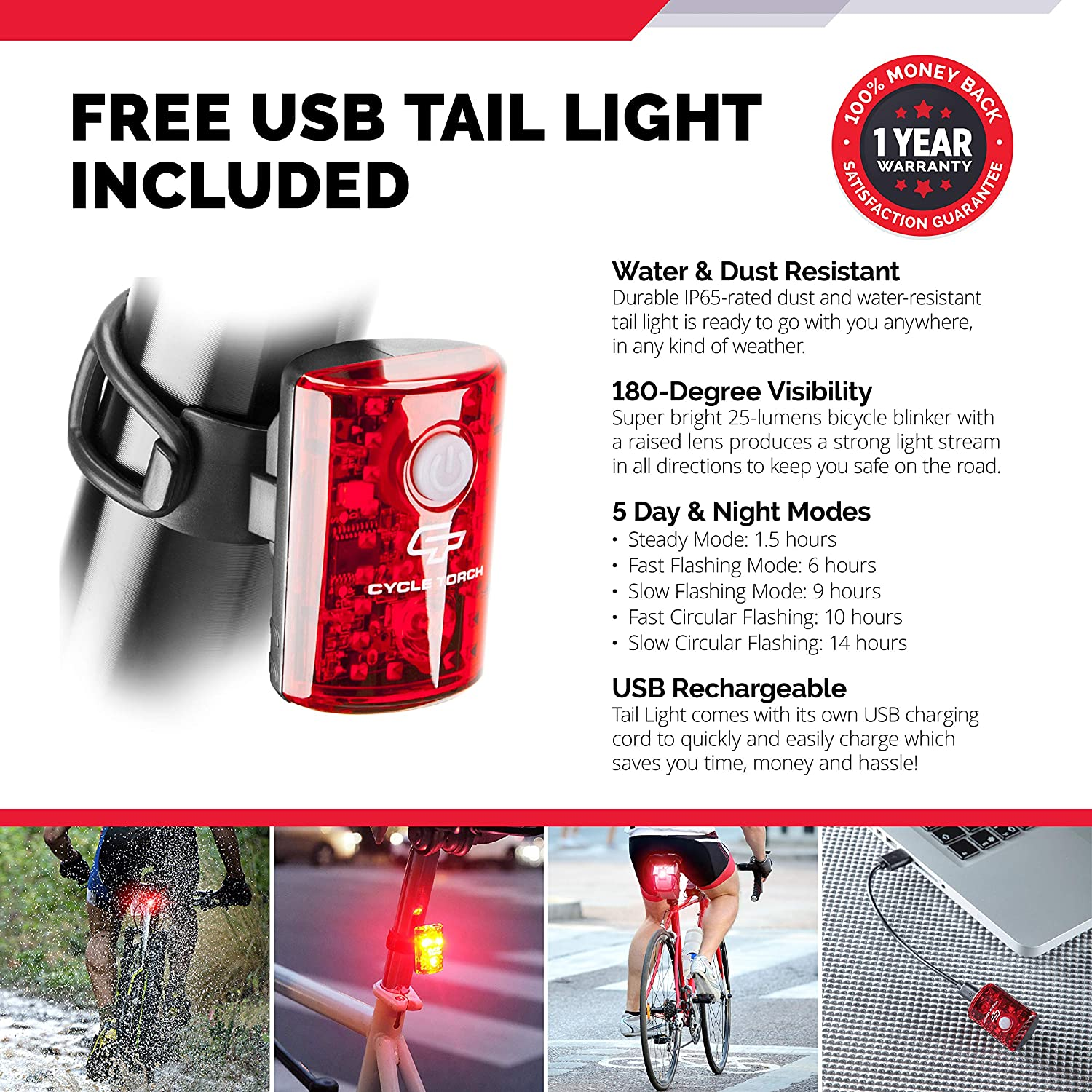 Black Shrk300 Fits ALL Bikes Quick Release Flashlight Set Cycle Torch SUPER BRIGHT USB Rechargeable Bike Light Shark 300 Bicycle HeadLight- USB TAIL LIGHT Included- 300 Lumens LED Front Light