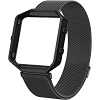Wearlizer For Fitbit Blaze Band, Milanese Loop Watch Band Replacement With Metal Frame Stainless Steel Bracelet Strap for Fitbit Blaze