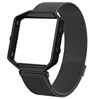 Wearlizer Compatible Fitbit Blaze Band with Metal Frame, Milanese Loop Stainless Steel Replacement Band Strap Accessories for Blaze Band Women Men Small Large