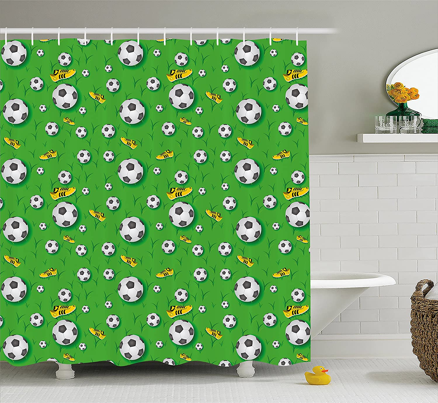 Ambesonne Soccer Shower Curtain Professional Player Athletics Pattern Football Shoes Balls On Grass Fabric Bathroom Decor Set With Hooks 84 Inches Extra