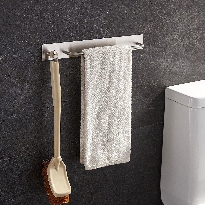 Taozun Towel Bar Ring with Hook Organizer Rack 3M Hand Self Adhesive Bathroom Kitchen Stick On Brush SUS 304 Stainless Steel