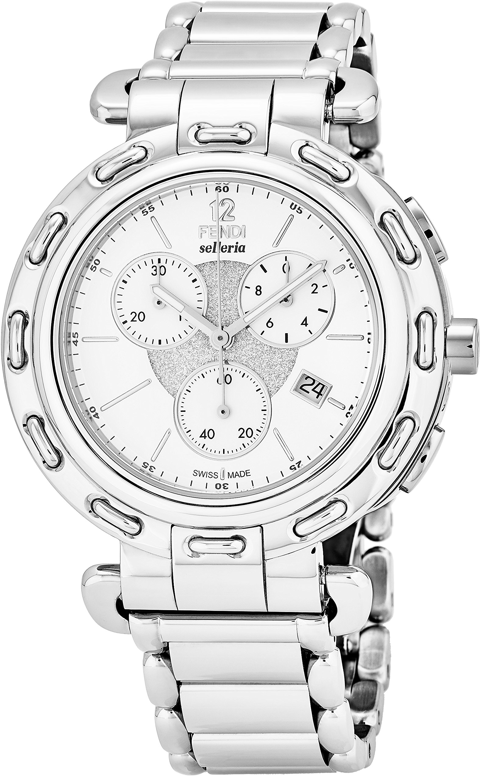 Fendi Selleria Mens Stainless Steel Swiss Chronograph Watch with Selleria Horse Logo on Back - White Face Analog Quartz Fashion Dress Watch For Men with Interchangeable Band F89034H-BR8653