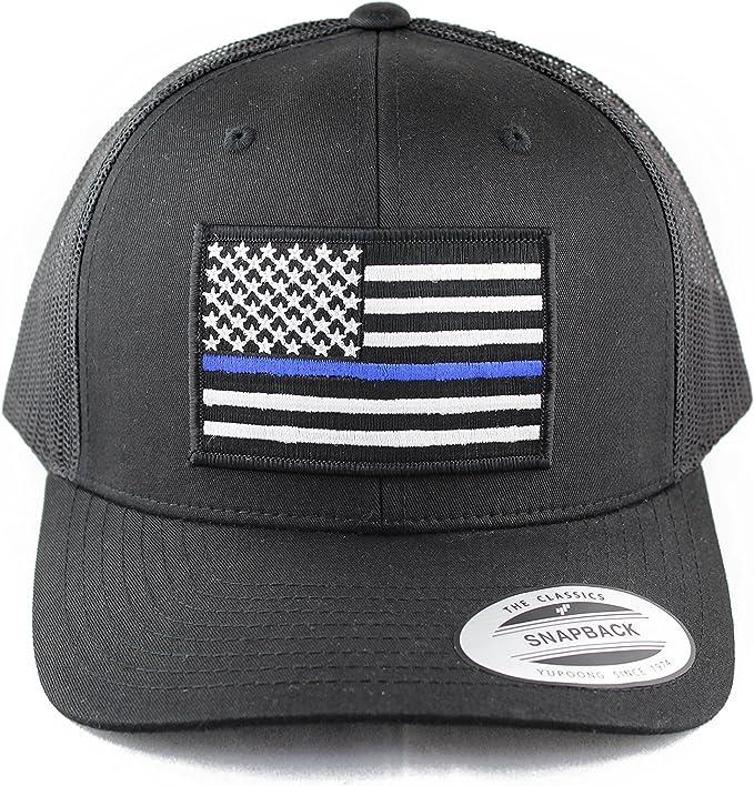 Black Thin Blue Line USA American Flag Tactical Mesh Baseball Hat Cap