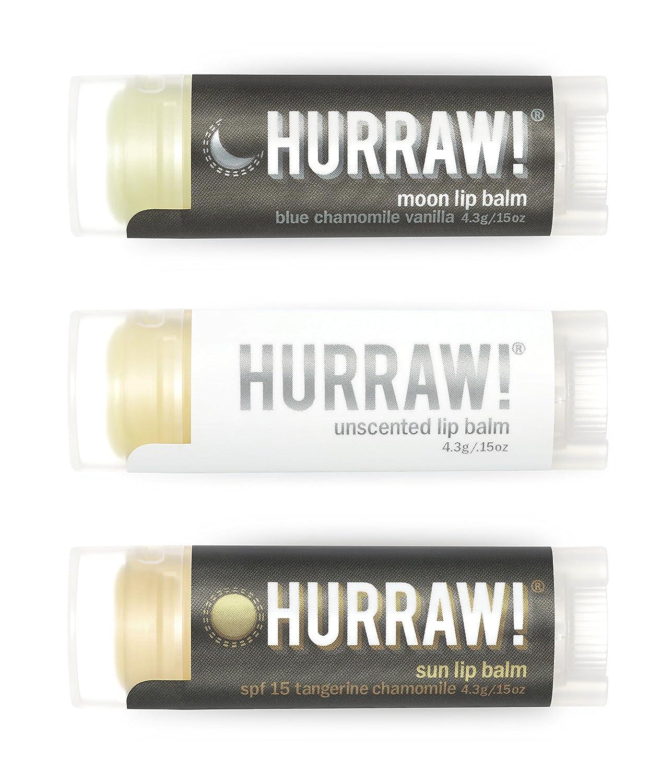 HURRAW! Moon, Unscented, Sun Lip Balms Bundle: Sunscreen, SPF 15, Zinc Oxide Sun Protection, Organic, Vegan, Non-GMO, Gluten Free, Natural, Luxury Lip Balm Made in USA – MOON, UNSCENTED, SUN (3 Pack) Hurraw! Balm